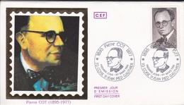 ENVELOPPE 1ER JOUR---PIERRE COT  ( 1895-1977 )--73   COISE SAINT-JEAN PIED GAUTHIER---1er Mars 1986 - 1980-1989