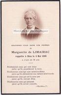 Faire-part Photo MARGUERITE DE LIMAIRAC. Nimes. Richard De Baumefort. Memento, Souvenir. - Décès