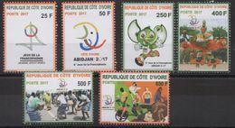 Côte D'Ivoire Ivory Coast 2017 8èmes Jeux De La Francophonie Sport Football Musique Soccer 6 Val. - Ivory Coast (1960-...)