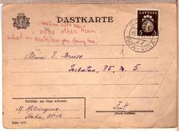 Latvia-Lettland-Postal-Card-amp-stamp-in-Soviet-time-cancel-RIGA-AL-15-11-1940 - Lettonie