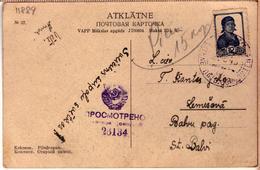 Latvia Lettland CCCP WWII With War Censor Nr.26134 Cancel LITENE 22.5.1945. - Letonia