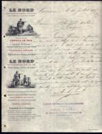 FACTURE OU LETTRE ANCIENNE DE CARCASSONNE- 1905- ASSURANCES LE NORD- INCENDIE ET VIE- BELLE ILLUSTRATION- 2 SCANS- - Banque & Assurance