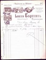 FACTURE OU LETTRE ANCIENNE DE CASTELNAUDARY- 1910- CHEMISERIE- DRAPERIE- MAISON DE BLANC- BELLE ILLUSTRATION- 2 SCANS- - France