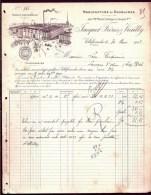 FACTURE OU LETTRE ANCIENNE DE VILLEFRANCHE/SAONE- 1907- MANUFACTURE DE DOUBLURES-  BELLE ILLUSTRATION- 2 SCANS- - Textile & Vestimentaire