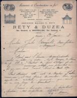 FACTURE OU LETTRE DU XIX° S. DE MONTPELLIER- 1893- PORTAILS EN FER- KIOSQUES A MUSIQUE- BELLE ILLUSTRATION- 2 SCANS- - France