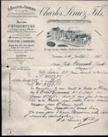 FACTURE OU LETTRE DU XIX° S. DE ISSOUDUN- 1893- PARCHEMINS- ETIQUETTES- MEGISSERIE-  BELLE ILLUSTRATION- 2 SCANS- - Printing & Stationeries