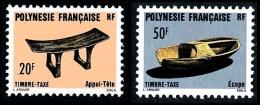 POLYNESIE 1987 - Yv. Taxe 8 Et 9 ** TB  Faciale= 0,59 EUR - Artisanat : Appui-tête Et Ecope  ..Réf.POL23321 - Timbres-taxe