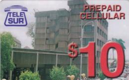 Surinam, $10, Telesur, Prepaid Celluar Card, Building, 2 Scans. - Suriname