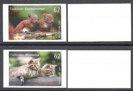 Deutschland / Germany / Allemagne 2015 3129/30 ** Eichhörnchen /Wildkatze Selbstklbend (02.01.15) Weiße Rückseite - [7] Federal Republic