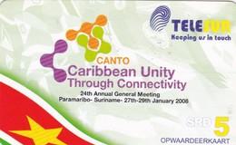 Surinam, $5, Telesur,Caribbean Unity, 2 Scans. - Surinam