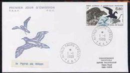 TAAF 1988, Animals, Antartic Birds, FDC - Marine Web-footed Birds
