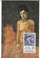 Carte Maximun--RARE---PICASSO  Nu Assis-seated Nude---journée Du Timbre 64---BIARRITZ--27-Mars-1982 - Cartes-Maximum