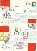 Kazakhstan.Four Envelopes Past The Mail. Tree Envelopes Registered. - Kazakhstan