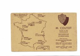 BUVARD  M. COUTOT DOCTEUR EN DROIT  RECHERCHES D HERITIERS - Buvards, Protège-cahiers Illustrés