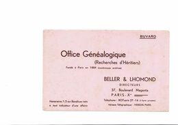 BUVARD   OFFICE GENEALOGIQUE  BELLER ET LHOMOND - Buvards, Protège-cahiers Illustrés