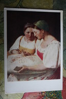 """OLD USSR Postcard """"Divination"""" By Venetsyanov- 1959 - PLAYING CARDS - Russian Types - Carte Da Gioco"""