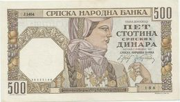 Serbia 500 Dinara 1941. AUNC Watermark Woman`s Head - Serbia