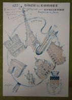 Grand Menu - 422e Diner Du 11 Mars 1958 Sous La Présidence De Mr Pelletier - Le Cornet - Illustration De Marcel Bloch - Menus