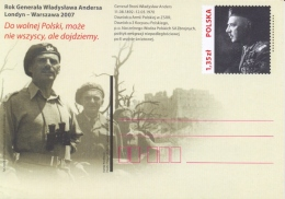 Poland 2007 Postal Stationery Postcard 1,35 Zl. General Wladislaw Anders Unposted - WO2