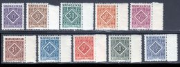 Madagascar Taxe 1947 Yvert 31 / 40 ** TB - Timbres-taxe