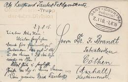 Feldpost 7/8/15 Gendarmerie-Trupp Der 4 ERS. Division - Ambulant Gent-Courtrai Sur Photocarte - Guerre 14-18