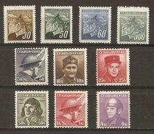 Tchécoslovaquie - 1945 - Feuilles De Tilleul, Héros Nationaux - Petit Lot De 10 MNH - Vrac (max 999 Timbres)