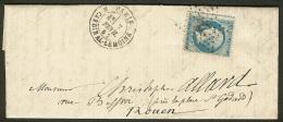 France-Lettre Avec N°22 Oblitéré étoile De Paris - Postmark Collection (Covers)