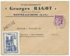 ENVELOPPE  N° 281 TYPE PAIX /  MANTES GASSICOURT   / 1935 / VIGNETTE  EGLISE NOTRE DAME - Poststempel (Briefe)