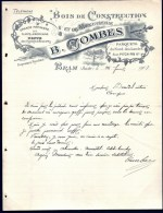FACTURE OU LETTRE ANCIENNE DE BRAM (11)- 1907- BOIS DE CONSTRUCTION- PARQUETS- BELLE ILLUSTRATION- 2 SCANS- - Autres