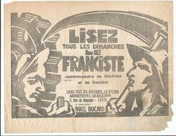 Document FASCISTE - LE FRANCISTE MARCEL BUCARD 1938 - Documents Historiques