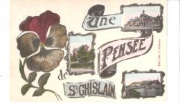 Une Pensée De Saint-Ghislain (Hainaut)-1913-Multivues-Hotel De Ville-Chalet Du Vent De Bise-Pont-Passerelle (Canal)-Rare - Saint-Ghislain