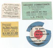 4 Vignettes CROIX DE FEU  Dissolution Des Lignes Fascistes - Documents Historiques
