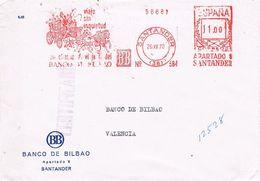 27574. Frontal Certificado SANTANDER 1970. Franqueo Mecanico Banco Bilbao - 1931-Hoy: 2ª República - ... Juan Carlos I