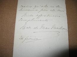 LETTRE AUTOGRAPHE SIGNEE D'ELISABETH DE MAC MAHON 1895 EPOUSE PRESIDENT REPUBLIQUE COMTE CHAMBORD ROYALISME - Autographes