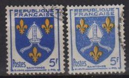 Variété Sur 5f Blason Saintonge N° 1005   Couleur Bleu Et Outremer - Errors & Oddities