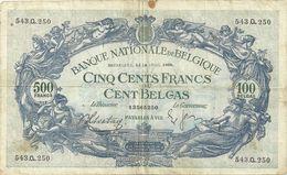 Billet De 100 Belgas Ou 500 FB - [ 2] 1831-... : Belgian Kingdom