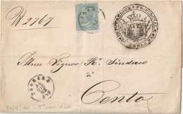 BUSTA CON C. 15 TIPO EFFIGIE VITTORIO EMANUELE II - FERRARA 24/12/1863, PRIMO MESE D'USO - CATALOGO SASSONE 18L (LONDRA) - Marcophilie