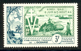 Oceanie PA 1954 Yvert 31 ** TB Liberation Coin De Feuille - Poste Aérienne