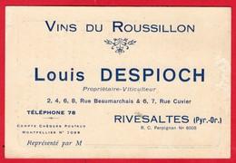 --  CARTE DE REPRESENTANT - VINS DU ROUSSILLON -  LOUIS DESPIOCH - RIVESALTES - Carte Avec Tarif -- - Visiting Cards