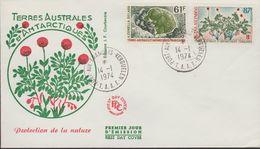 TERRE AUSTRALES ET ANTARTIQUE FR.  ANIMAL  FDC  1974  Yvert  N°52/53    Réf  H971 - FDC