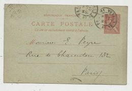 Sur Carte Postale , ENTIER POSTAL, 10, 1901 , PARIS 11 , AV. DE L'OPERA - Entiers Postaux