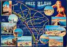 85 - Vendée - Cote Bleue - Multivues - Carte Géographique - Femme Sexy En Maillot De Bain - Voir Scans Recto-Verso - Frankrijk