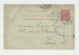 Sur Carte Postale , ENTIER POSTAL, 10c, 1905 , PONTOISE , Ph. Omont , Ancien Notaire - Postwaardestukken