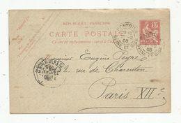 Sur Carte Postale , ENTIER POSTAL, 10, 1903 , PONTOISE , Seine Et Oise , Ph. Oliont , Ancien Notaire - Postwaardestukken