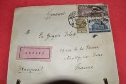 LETTRE  AVEC  TIMBRES  RUSSES 50KON.1PYB.10KON;  CAD EN RUSSE ;ETIQUETTE EXPRÉS; CAD NEUILLY S SEINE 7.6 37 . ERQUELINE - 1923-1991 USSR