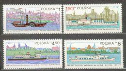 POLAND MNH ** 2455-2458 Anniversaire Des Premiers Bateaux à Vapeur Bateau Ksawery Le Gen Swierczewski Le Pchacsz Zubr - 1944-.... Repubblica