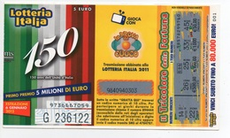 """2011 Lotteria Italia, Abbinata Alla Trasmissione """" La Prova Del Cuoco """"  . Estrazione 6 Gen.2012 - Lottery Tickets"""