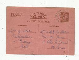 Sur Carte Postale , ENTIER POSTAL, PUSSAY ,  Seine Et Oise , 1941 - Entiers Postaux