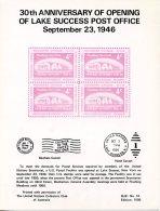 United Nations New York, Opening Lake Success Post Office, Private Souvenir Card Imprinted, Mint, MJK #10 - New-York - Siège De L'ONU