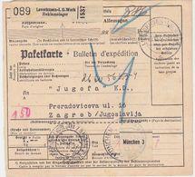 GERMANY CROATIA 1937 PARCEL CARD LEVERKUSEN (I.G. Werk, Reklamelager) TO ZAGREB TAXE PERCUE - Allemagne